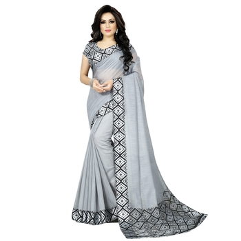 Grey plain blended cotton saree with blouse