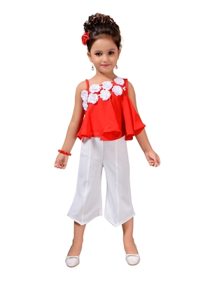 Red Printed Pure Georgette Kids Top & Bottom Set'S