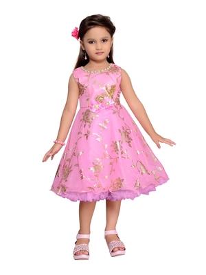 Pink Printed Blended Cotton Kids-Girl-Frock