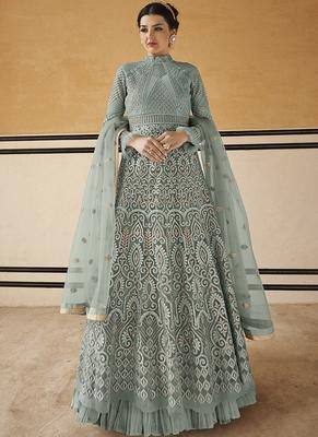 Sky-blue resham embroidery net salwar