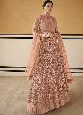 Peach Resham Embroidery Net Salwar