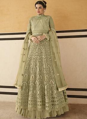 Olive Resham Embroidery Net Salwar