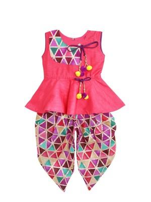 Pink printed art silk peplum top with dhoti for girls
