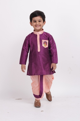 Purple plain dupion boys-dhoti-kurta