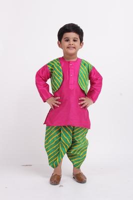 Pink plain dupion boys-dhoti-kurta