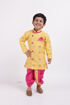 Yellow Woven Brocade Boys Dhoti Kurta