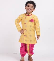 Yellow woven brocade boys-dhoti-kurta