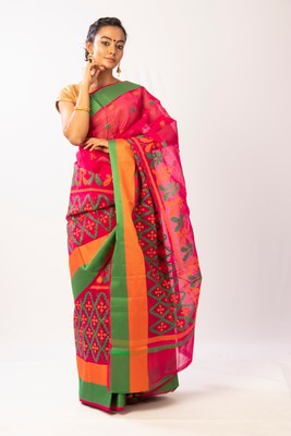 Pink art silk embroidered saree with blouse