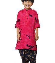Tie n Dye Hot Pink Kurta with Foil Print Dhoti Set for boys