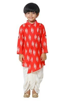 Red Ikat Print Kurta with Dhoti Set for boys