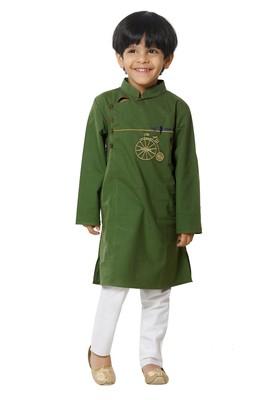 Green Cotton Embroidered Kurta Pyjama Set for boys