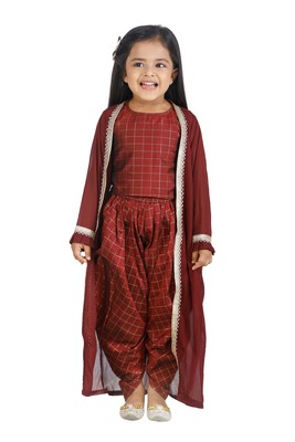 Check Brown Top Dhoti With Jacket set for girls