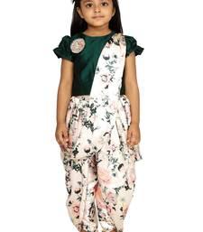 Green Dhoti saree for girls
