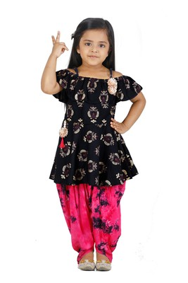 Foil Print Navy peplum suit with Dhoti Set for girls
