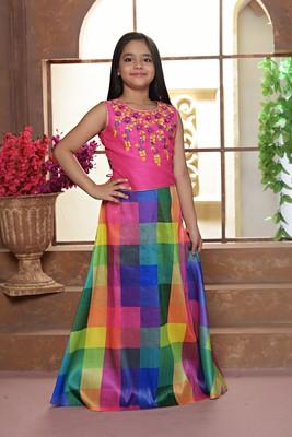 yellow printed Polyester Stitched lehenga choli