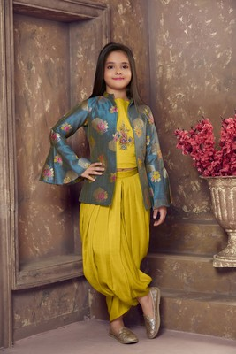 mustard embroidered Satin stitched kids salwar suits