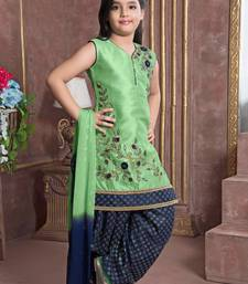 blue embroidered Polyester stitched kids salwar suits