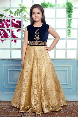 blue embroidered velvet stitched girls gown
