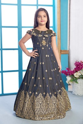 grey printed polyester stitched girls gown