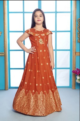 orange embroidered polyester stitched girls gown