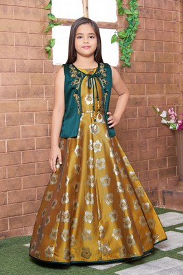 yellow embroidered polyester stitched girls gown