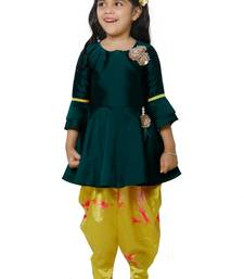 Emerald Peplum Suit with Dhoti Set for girls