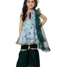 Blue Striped Peplum Kurta with Sharara Set for girls