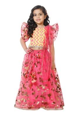 Bright Ruffle Choli with Hot Pink Lehenga Set for Girls
