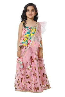 Multicolour Peplum choli with Pink Lehenga Set for Girls