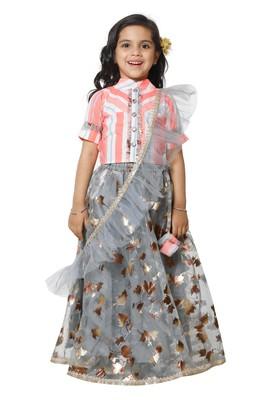 Neon Stripe Choli with Grey Lehenga Set for Girls