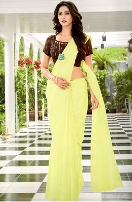 Lemon Woven Linen Saree With Blouse