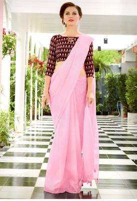 Baby Pink Woven Linen Saree With Blouse