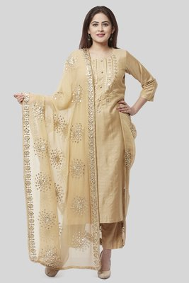 Mellow Gold Embroidered Kurti and Straight Pants with Mellow Gotta Patti Chiffon Dupatta