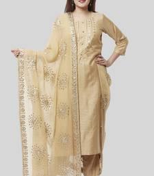 Mellow Gold Embroidered Kurti and Straight Pants with Mellow Gotta Patti Chiffon Dupatta