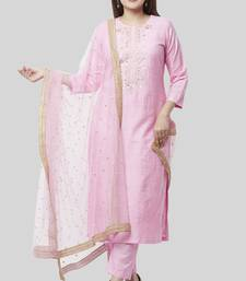 Pearl Blush Embroidered Kurti with Straight Pant and Pearl Sequenced Net Dupatta