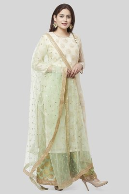 Ivory Pistachio Kurti with Kalidaar Palazzo and Net Dupatta