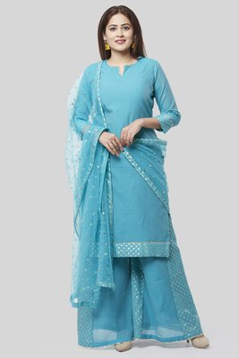 Noor Blue Straight Kurti with Golden Weaved Kalidar Palazzo and Sequenced Dupatta