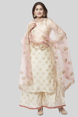 Off-White Gold Foil Printed Kurti with Foil Printed Kalidaar Palazzo and Floral Gotta Patti Dupatta