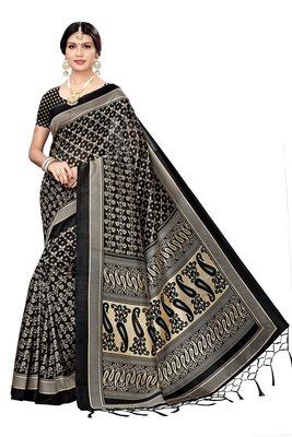 Black Mysore art silk saree with blouse