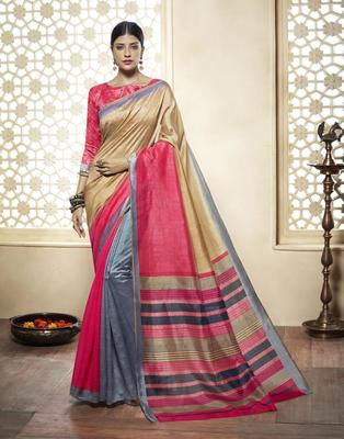 multicolor printed cotton_silk saree with blouse