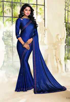 Blue printed satin saree with blouse