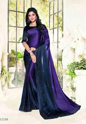 Purple printed satin saree with blouse