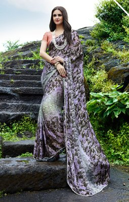 multicolor printed satin saree with blouse