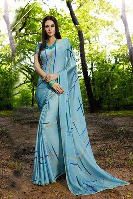 sky_blue printed satin saree with blouse