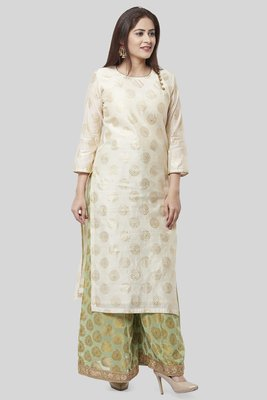 Off-White Gold Foil Printed Kurti with Pistachio Kalidaar Palazzo