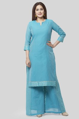 Noor Blue Straight Kurti with Golden Weaved Kalidar Palazzo