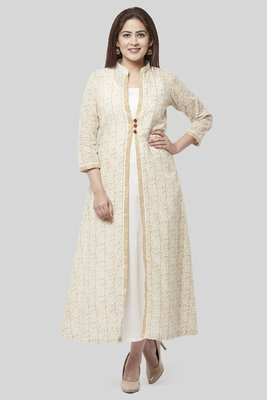 Off-White Gold Printed Long Jacket Kurti Dress