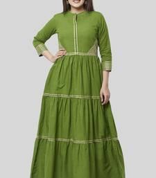 Olive Green Gotta Gathered Kurti Dress