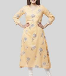 Melon Orange Angrakha Kurti with Off-White Churidaar