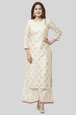 Off-White Gold Foil Printed Kurti with Foil Printed Kalidaar Palazzo